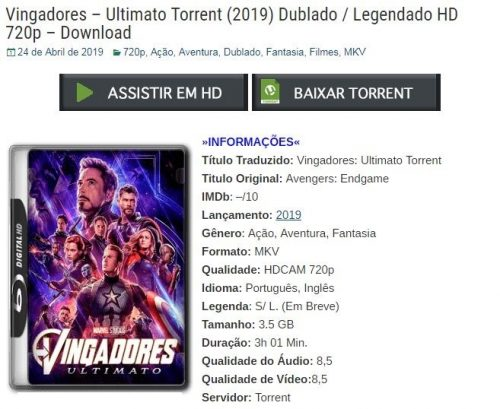 Acredite: torrent de 'Vingadores: Ultimato' já vazou na internet!